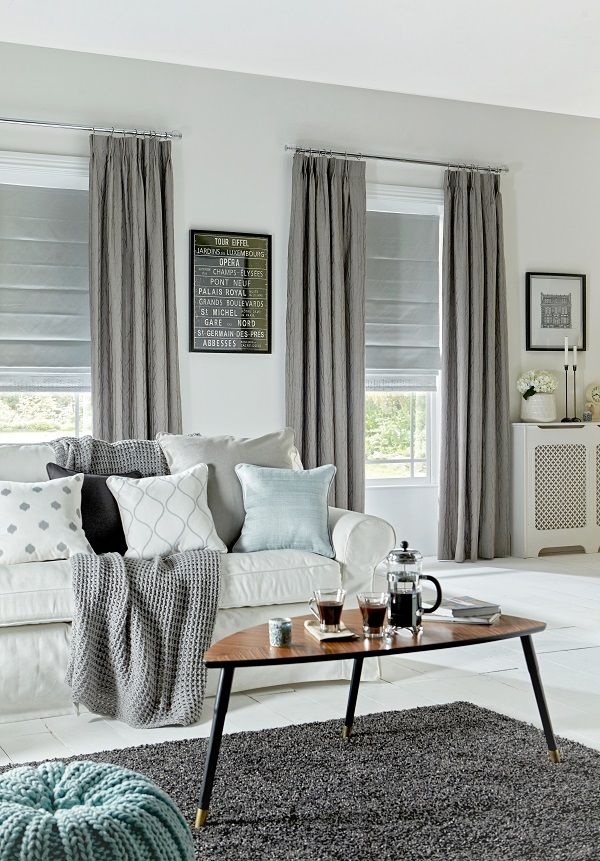 Sherwood Silver Curtain And Oasis Silver Roman Blinds By Style Studio.