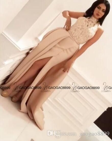 1c4e2f814103 2017 Modest High Neck Split Evening Dresses With Detachable Skirt Yousef  Aljasmi Nude Lace Stain Arabic Dubai Mermaid Occasion Prom Dress Lace  Evening ...