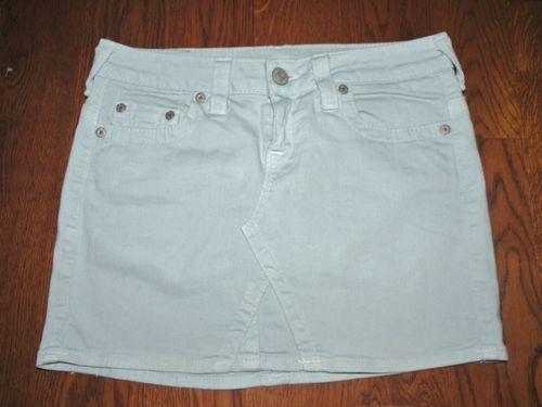 True Religion Light Blue Mini Skirt 28 Denim Cut#TRW1316 $39.99 free shipping #truereligion #miniskirt #ebay