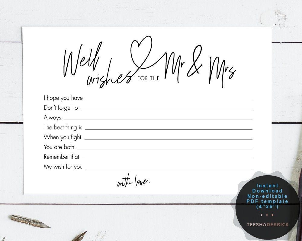 Well Wishes For The Mr And Mrs Card Template Instant Pdf Template Marriage Advice Card Bridal Sh Marriage Advice Cards Marriage Cards Wedding Card Templates