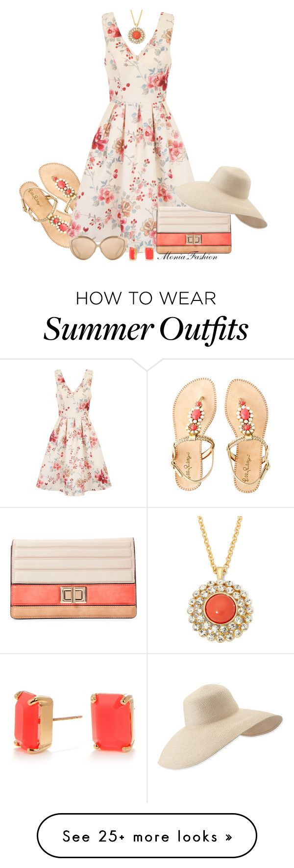"""""""summer 2016"""" by monia-fashion on Polyvore featuring Lilly Pulitzer, Chi Chi, Melie Bianco, Eric Javits, Linda Farrow, Kate Spade and Monet"""