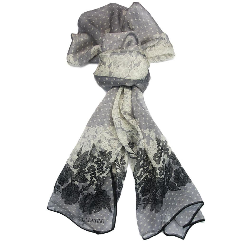 Valentino Grey Floral Silk Ladies Scarves | Valentino, Scarves and ...