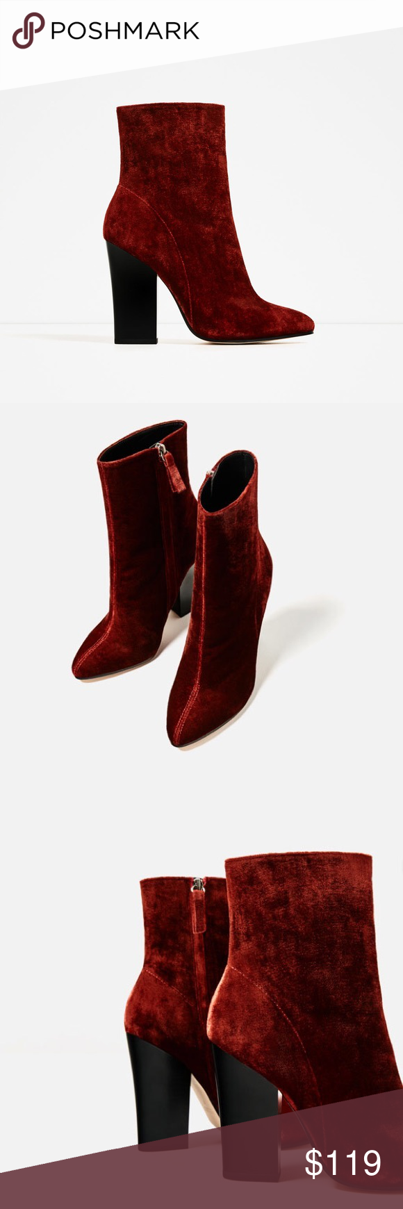 ZARA High Heel Velvet Ankle Boots Terracotta color high heel ankle boots. Central seam detail. Side zip closure. Pointed toe. Block heel. Heel height: 4.2 inches. Zara Shoes Ankle Boots & Booties