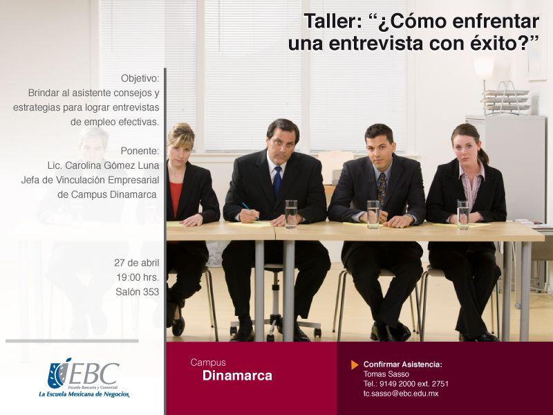 Taller ¿Cómo enfrentar una entrevista con éxito?