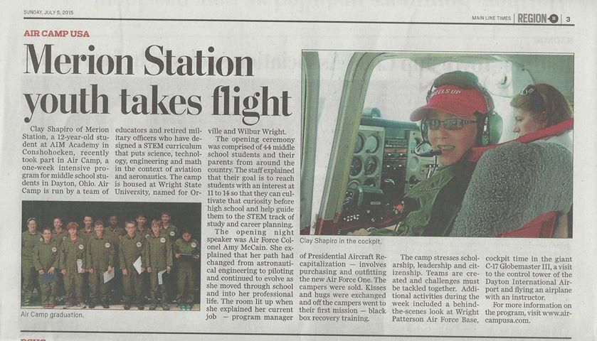 AIM student Clay '21 had a great experience at AIr Camp in Dayton focusing on #aviation & #aeronautics. @MLMediaNews