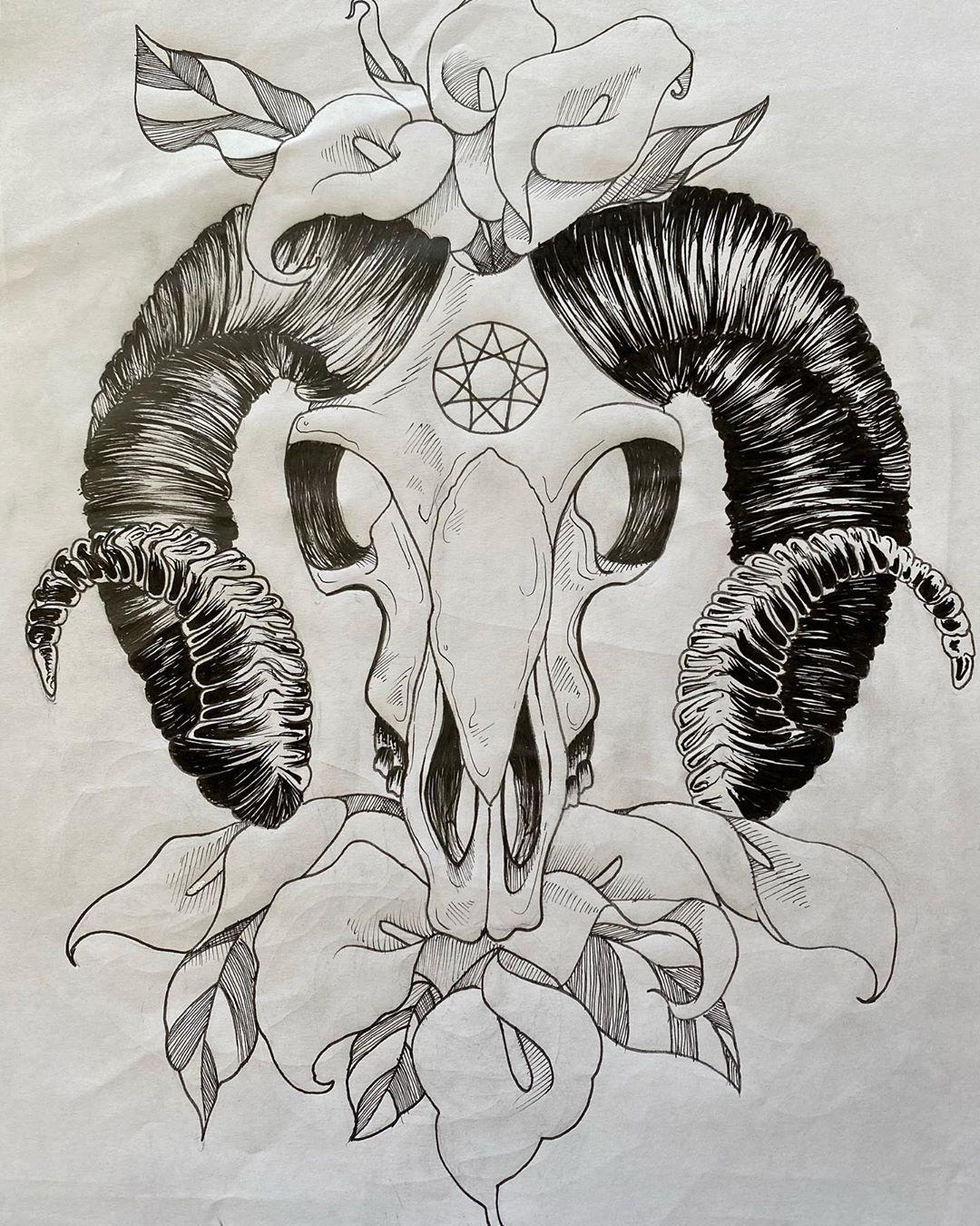 Cool ram skull design for my buddy  #art #artist #artwork #black #blackandwhite #pen #tattoo #tattoos #tattoodesign #illustration #handdrawn #inkdrawing #ink #drawing #ram #skull #ramskull #flowers #callalily