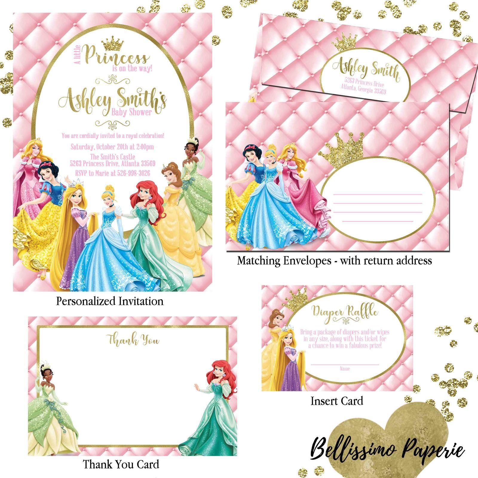 Princess Baby Shower Invitation Set thank you diaper raffle Disney ...