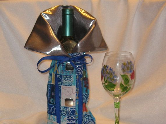 Hanukkah Wine bottle Bag / Holder / Cozy by JosieeDesigns on Etsy, $12.00