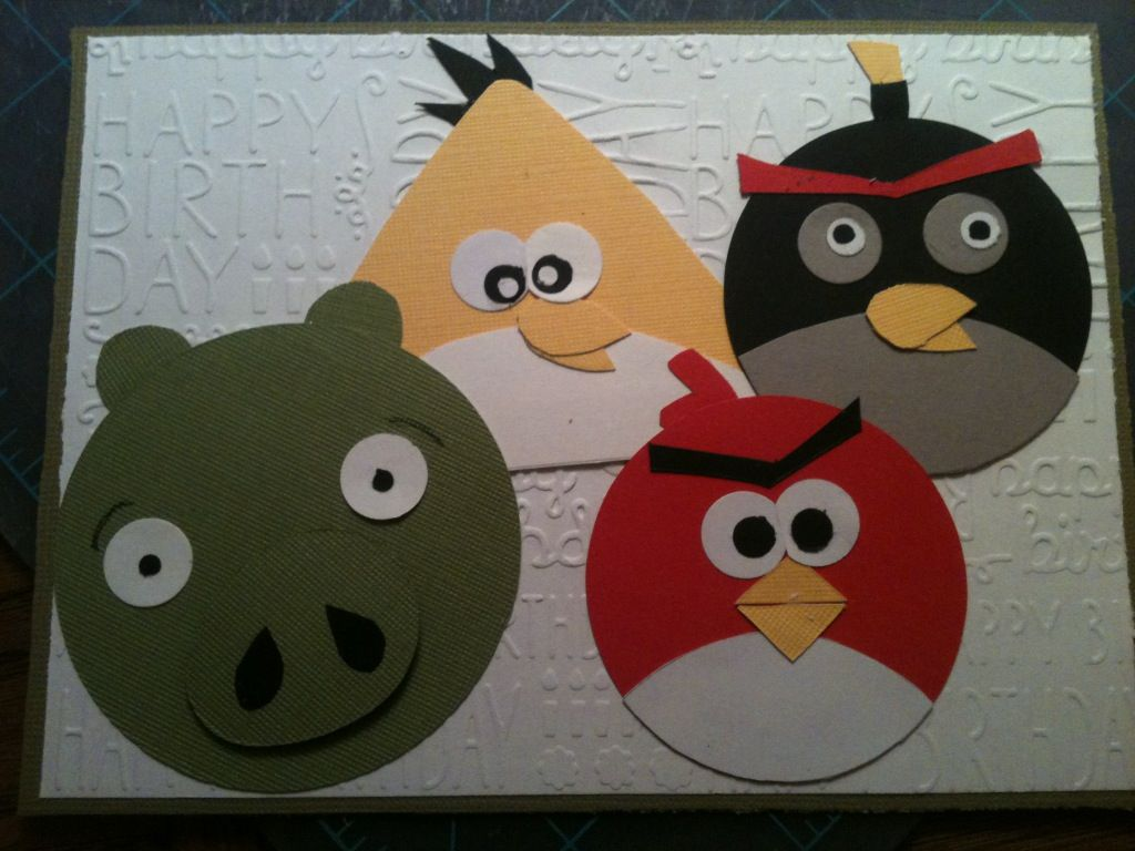 I Made This Angry Birds Birthday Card Using Scraps The Base Is