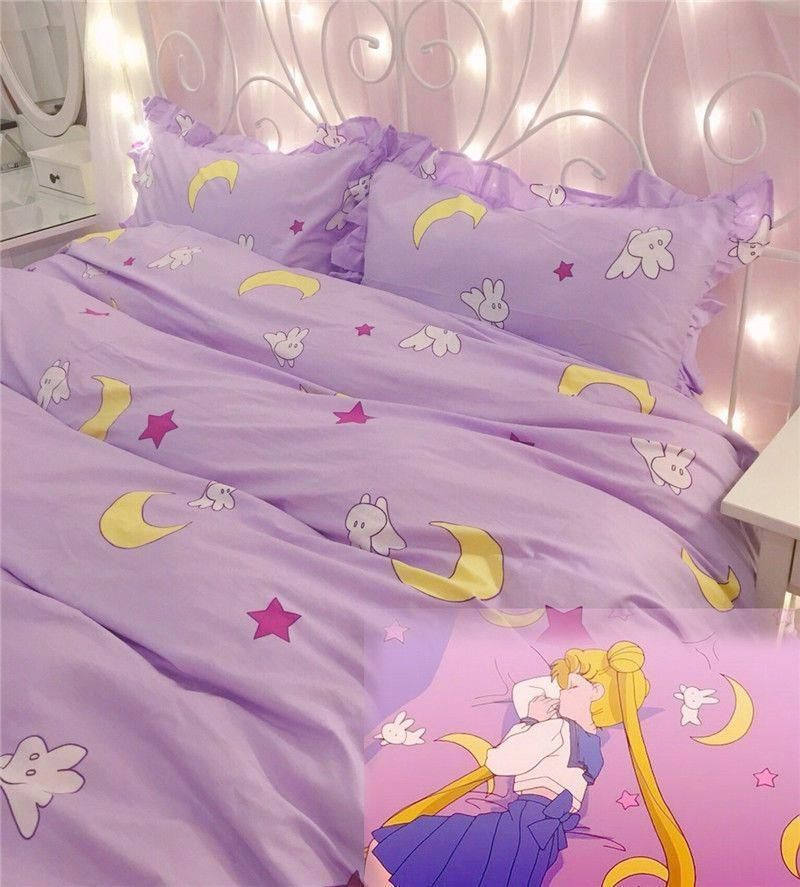 Anime Sailor Moon Cute Bedding Home Decor Cotton Purple Duvet
