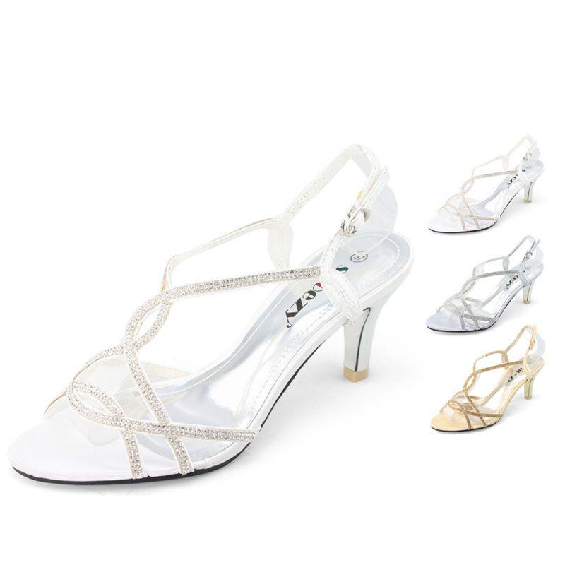Bridal Shoes Wide Feet: SHOEZY Trendy Womens Rhinestones Strappy Mid Heels Comfort