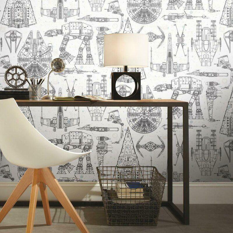 Hessler Star Wars 16 5 L X 20 5 W Peel And Stick Wallpaper Roll Wall Coverings Peel And Stick Wallpaper Star Wars Furniture