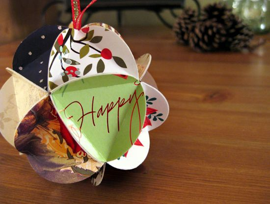 Homemade Christmas Ornaments - Reuse cards from the year before.