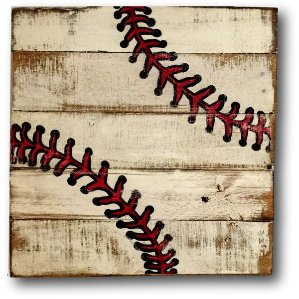 Marvelous Baseball Wall Art Sports Decor Rustic Vintage Baseball Sign ($40) ❤ Liked  On Polyvore