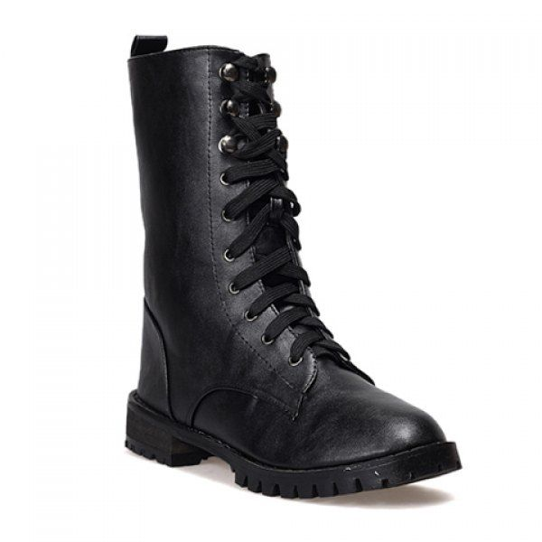 Casual PU Leather Lace Up Solid Color Design Women's Combat Boots #shoes, #jewelry, #women, #men, #hats, #watches, #belts