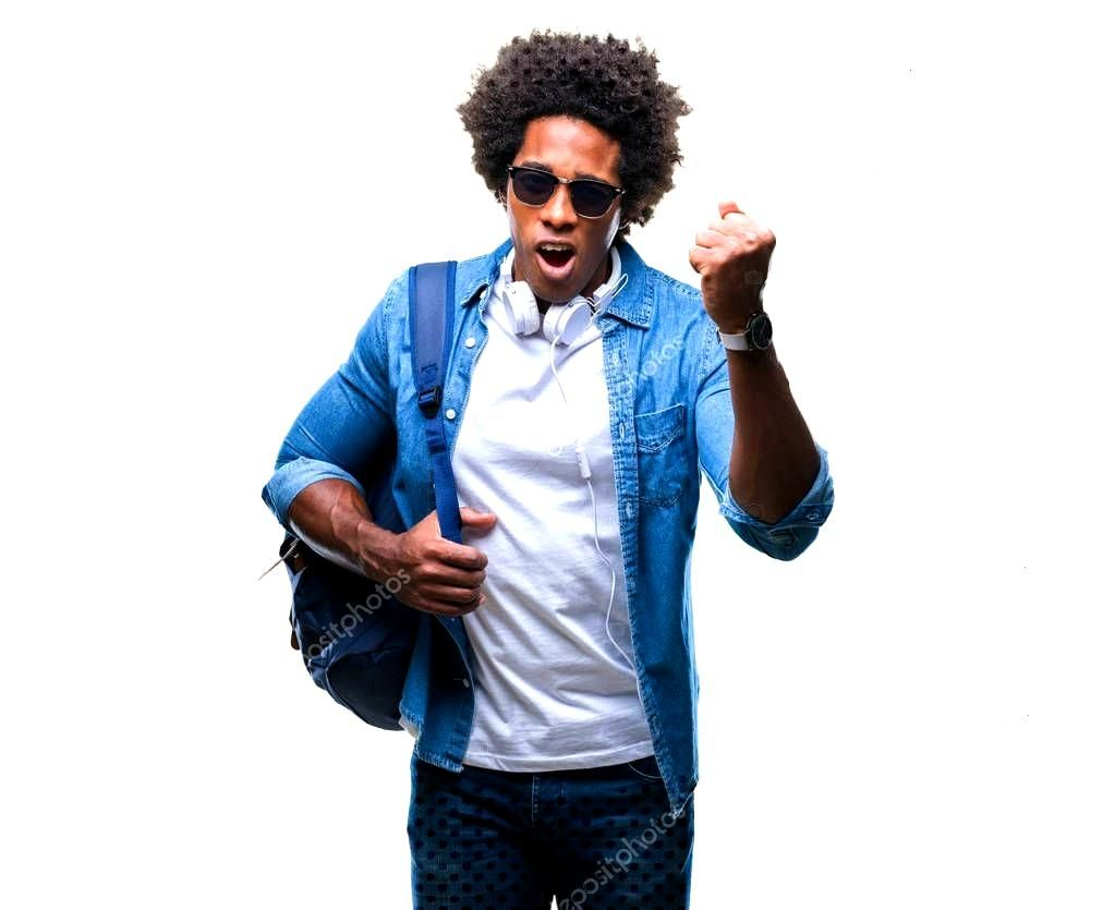 Afro American Man Wearing Headphones Backpack Isolated Background Annoyed Frustr ,
