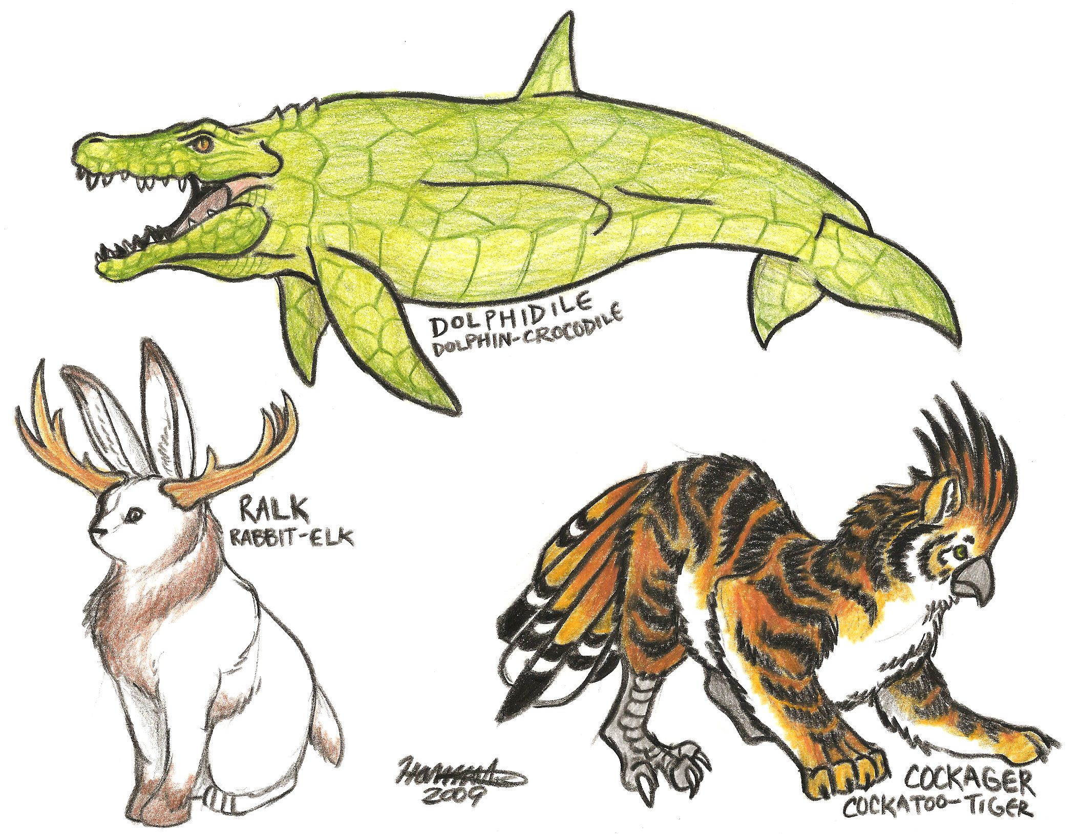 Animal Hybrids By Orcacat88 Deviantart Dolphidile Dolphin Crocodile Ralk Rabbit Elk Cockager Cockat Hybrid Art Creature Concept Art Animal Drawings