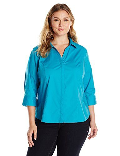 59e7eb51bc6eb Riders by Lee Indigo Women s Plus Size Bella Easy Care 3 4 Sleeve Woven  Shirt