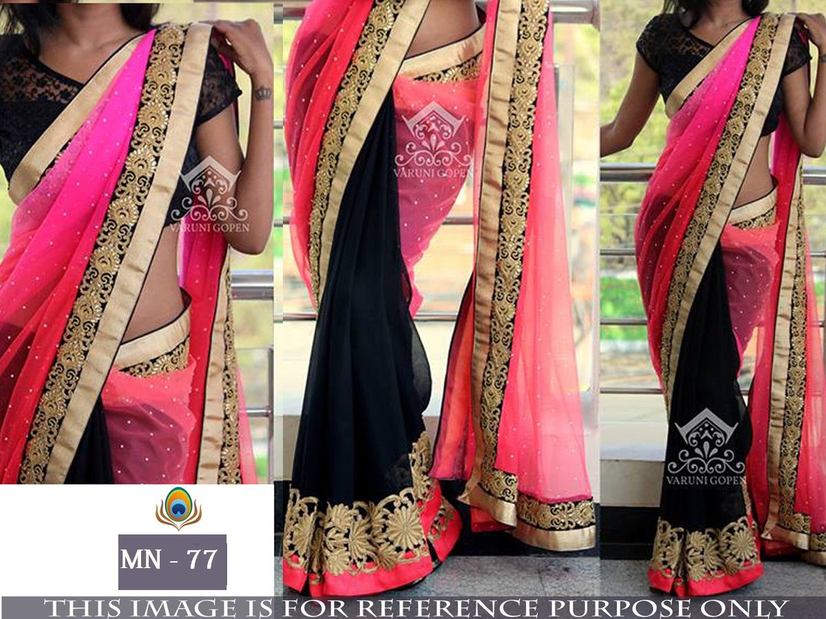 Price inr colour pink u black fabric saree georgette