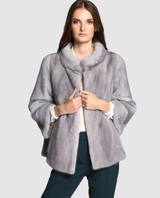 d3f131972ce Chaquetón de visón de mujer El Corte Inglés en color gris | Moda ...