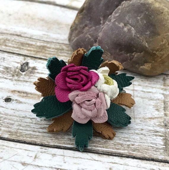 SPRING (SALE 50%) Leather Pink Rose Bouquet Brooch. Pink Flower ...
