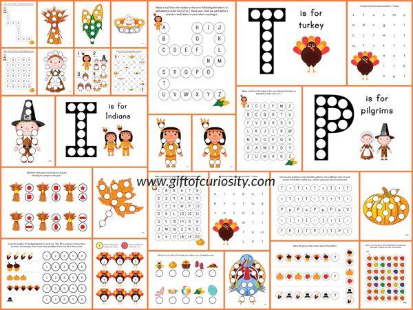Thanksgiving Do-a-Dot Printables | Arbeitsblätter für Kinder ...