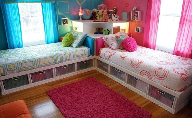 Amazing 2 Single Beds Room Ideas Shared Girls Bedroom Kids