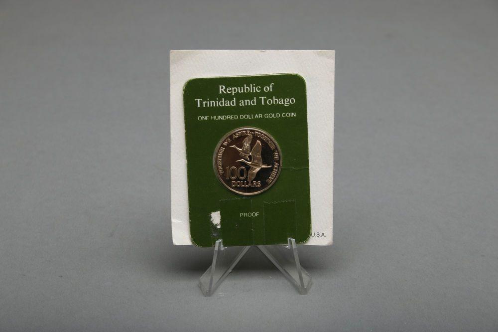 1976 Trinidad Tobago 100 Dollar Gold Coin, Franklin Mint
