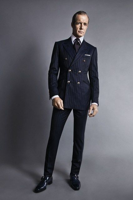 18abd089d3f Very Fitted Double Breasted Navy Wool Suit. Men's Fall Winter Fashion.