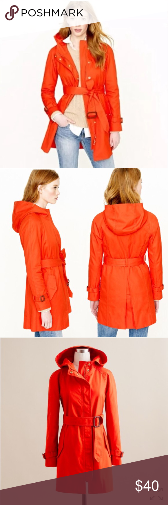 J. Crew Martinee Trench Coat, Red / Orange 100% cotton, sleeve lining 100% acetate.  Regular fit. Zip closure. Long sleeves. Hits below hip. Oversized hood, waist belt.  Import.  Condition: Very Good. Note, slight wear on front left pocket button from dry cleaning, as shown. J. Crew Jackets & Coats Trench Coats
