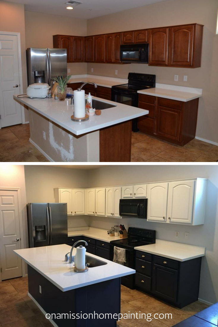Before And After Kitchen Cabinets Painted By Phoenix Paint Contractor Onamission H Kitchen Remodel Before And After Cheap Kitchen Cabinets Kitchen Remodel Cost