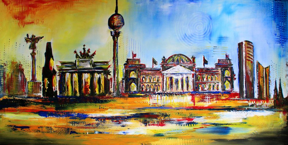 Berlin Skyline Handgemalt Abstrakt Kunst Bild Handgemalt Berlin Skyline Stadtbild Stadtmalerei City Cityscape Painting Kunstwerke Gemalde Skyline Bilder