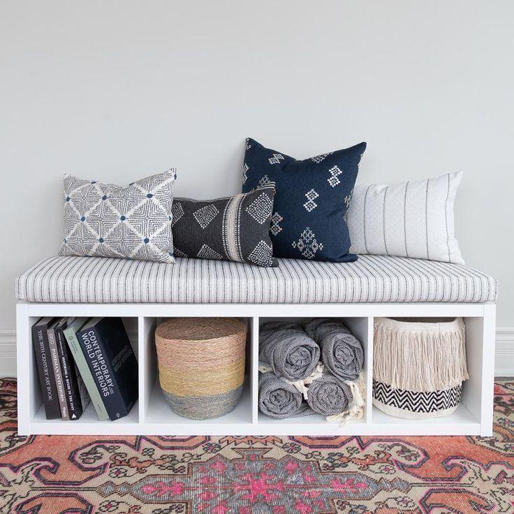 Rodin Stripe Foam Bench Cushion Natural IKEA hack Kallax shelf Ideas