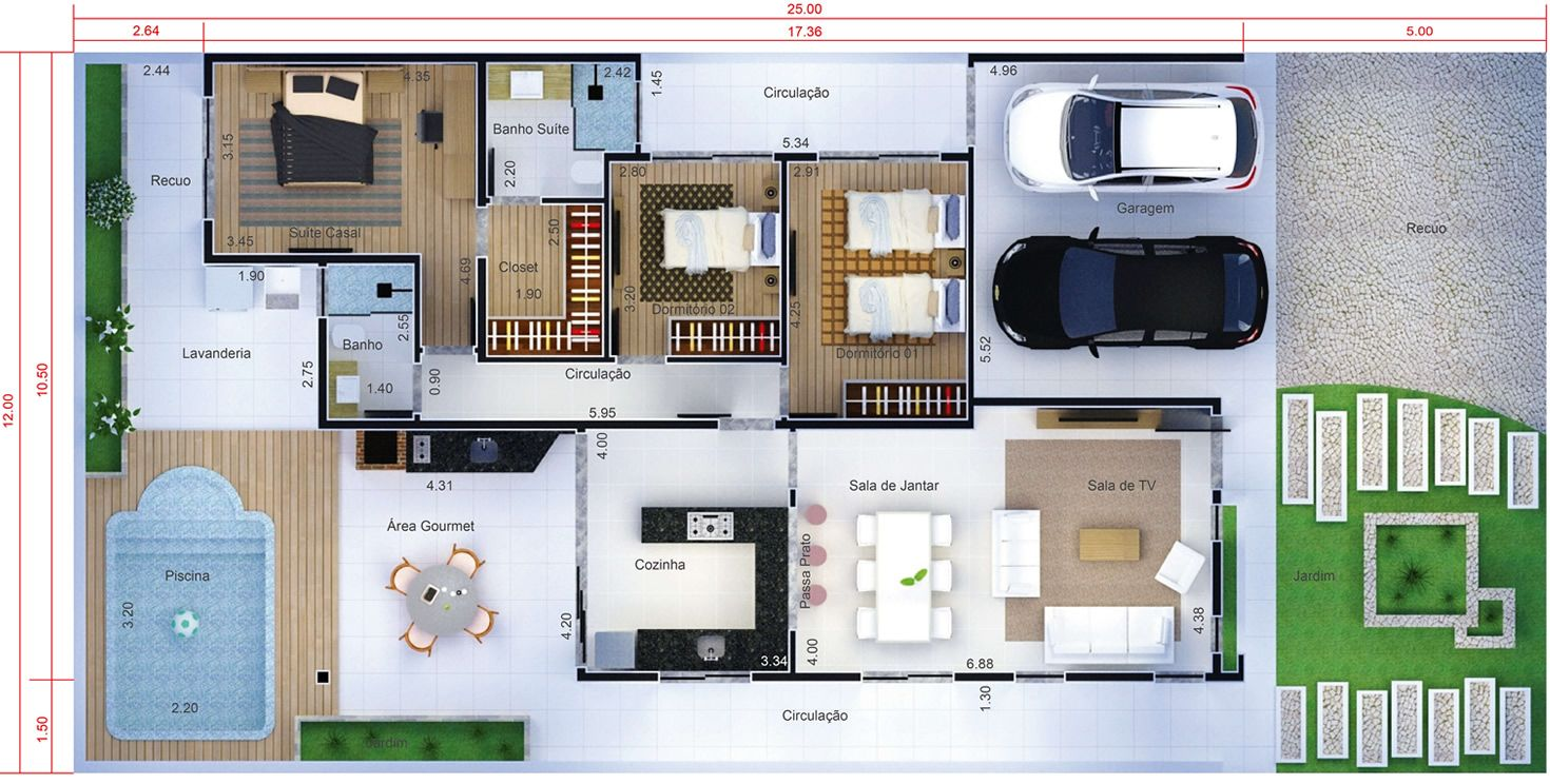 Projeto de casa t rrea com 3 quartos planta para terreno for Casa moderna 2 andares 3 quartos