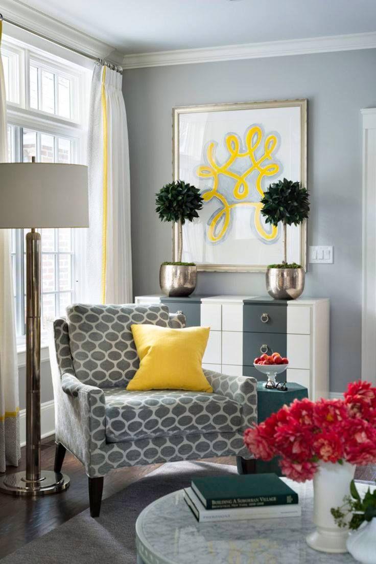 Farbige Wände, Wohnzimmer, Dekorieren, Dekoration, Graues Zimmer, Graue  Wohnzimmer, Gelbgrauer Raum, Wohnzimmer Akzent Stühle, Graues Dekor