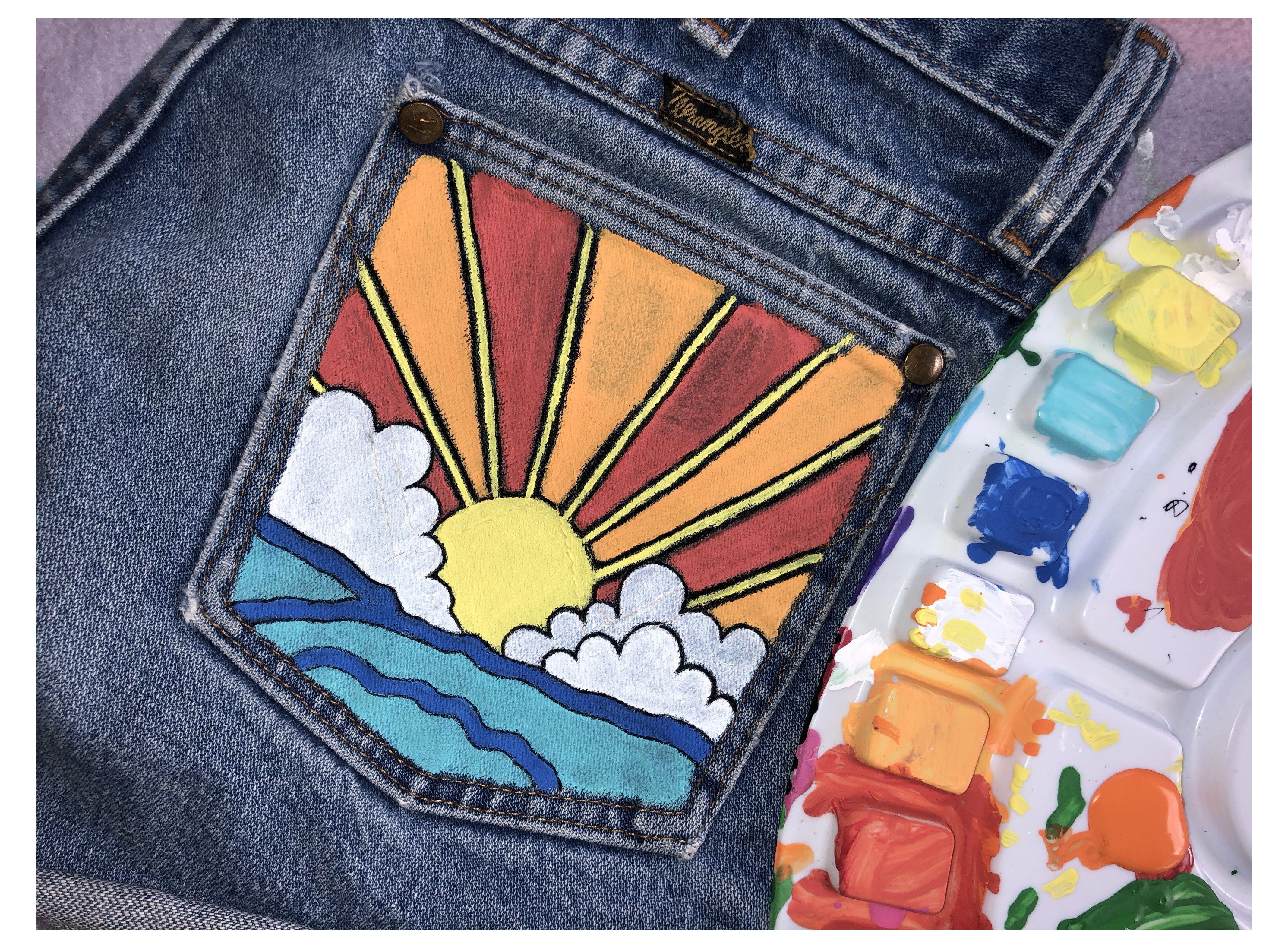 Can You Get Acrylic Paint Out Of Clothes Pocketful Of Sunshine Jean Pocket Painting Sunflower Acrylic Paint On Jean Pocket In 2020 Painted Clothes Diy Painted Jeans Painted Denim