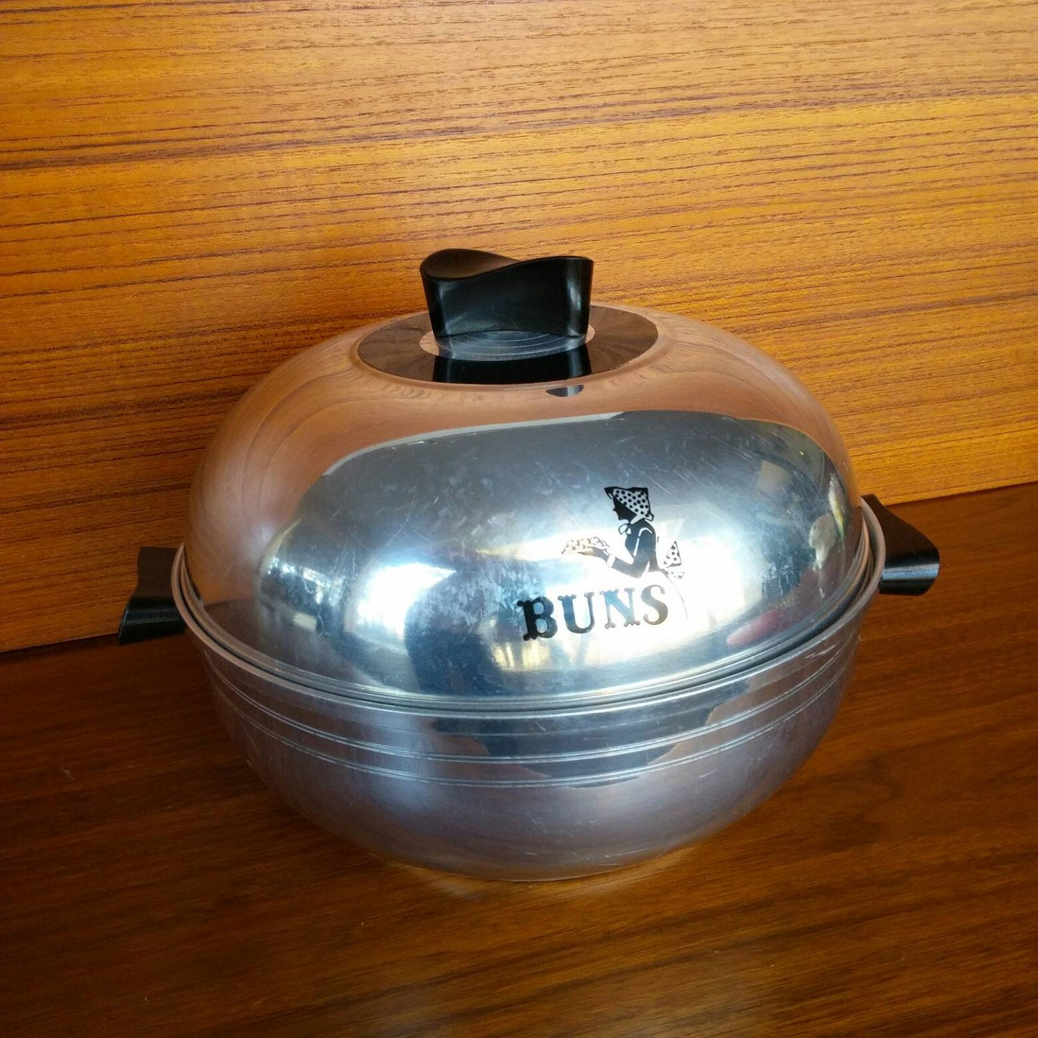 Vintage Bun Warmer West Bend Serving Oven Aluminum Stove Top By Server Bread Jimpiphanys On