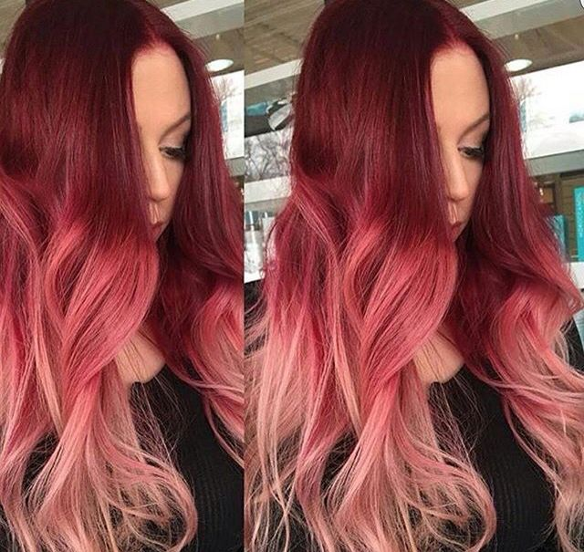 Pink Ombre Fun Colors Red Ombre Hair Red Hair