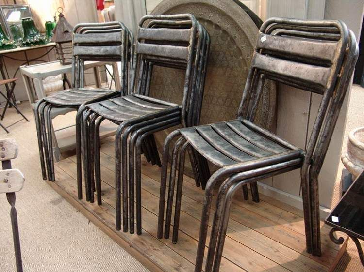 Set Of 10 French Vintage Industrial Chairs   SOLD
