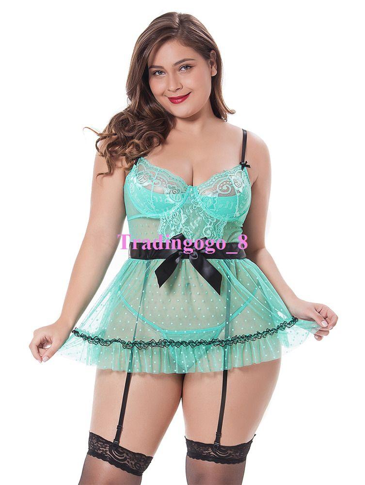 3c898f43499 Plus Size Sexy Women Sheer Green See Through Lingerie Mesh Dress+Garters  M-4XL  GainLove  BabydollChemise  Glamour