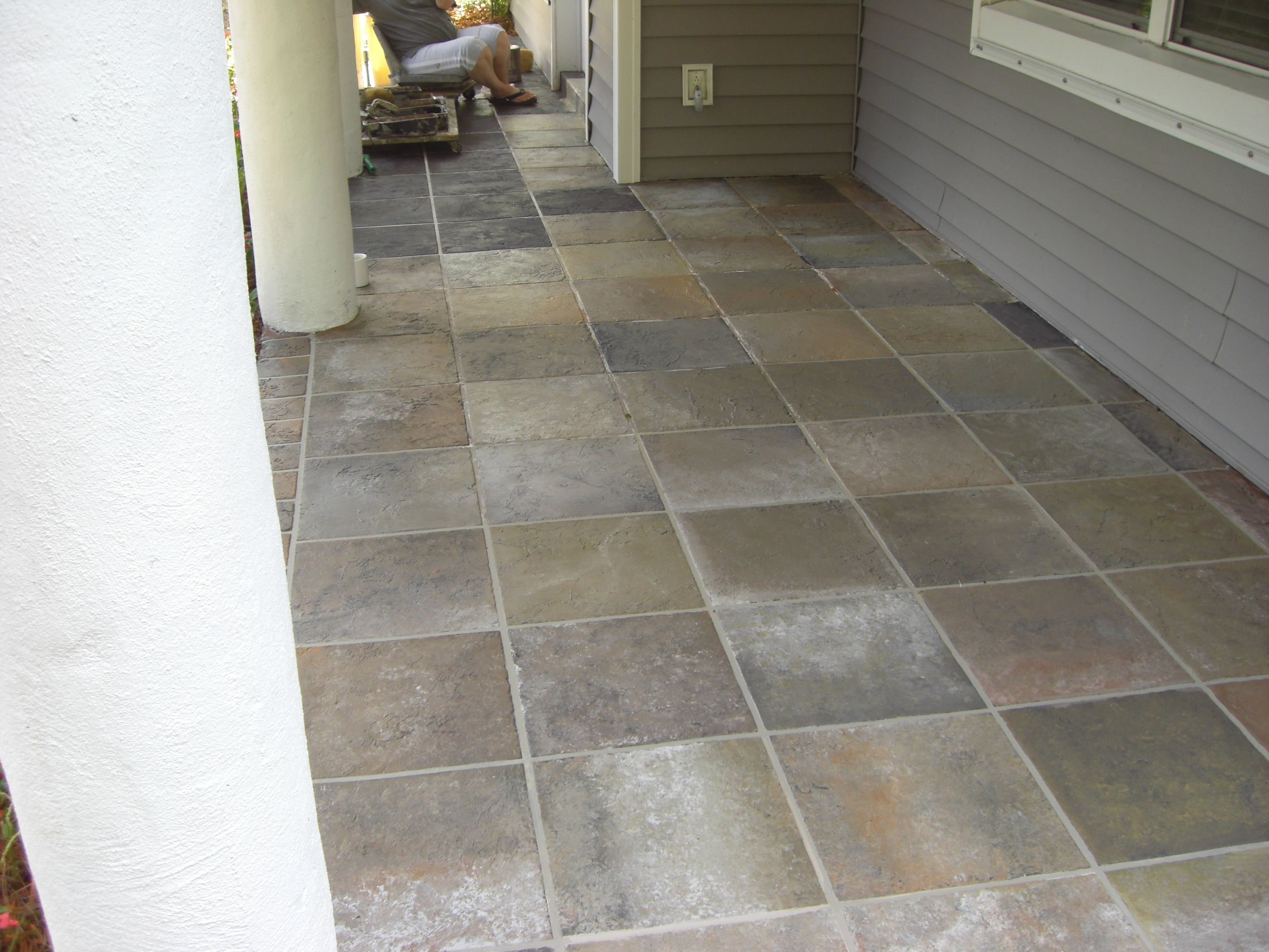 Painted Concrete To Look Like Tile Patio Tiles
