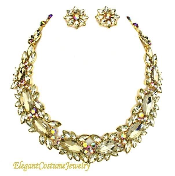 Elegant Champagne Crystal Jewelry