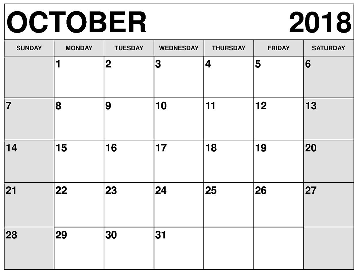 October Calendar Printable By Week And Dates