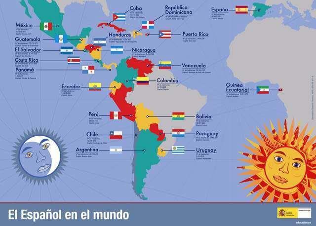 Resultado de imagen de mapa países habla hispana