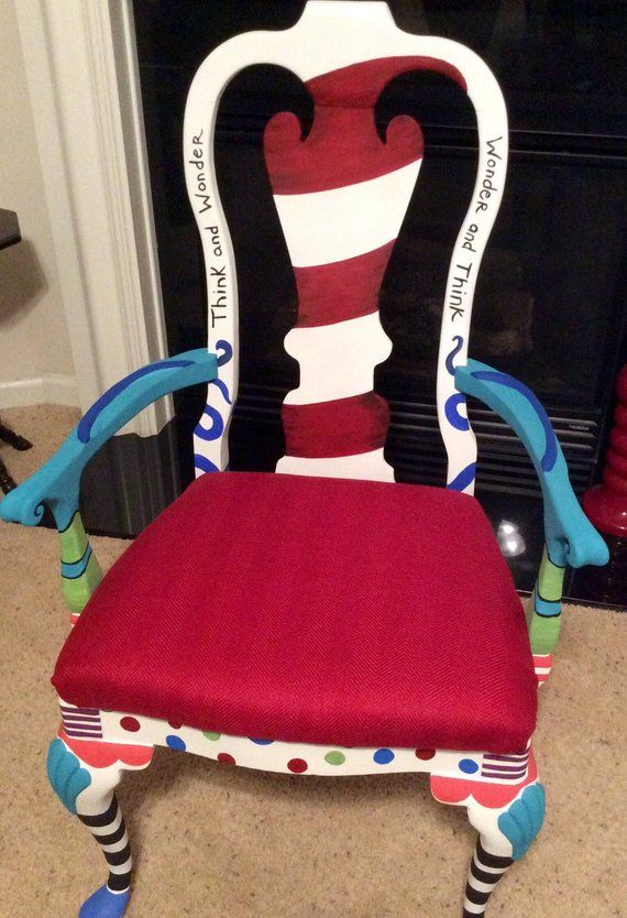 Items similar to Dr  Seuss Chair, Made to order, Custom handpainted chair, Whimsical furniture on Etsy is part of Whimsical furniture - Hand painted and sealed for protection and durability Chairs are custom Hand painted made to order chairs, brightly painted and sealed  All chairs are custom and you can select a Dr Seuss quote if you like  All chairs are one of a kind and take 34 weeks for delivery  Chairs are custom painted,