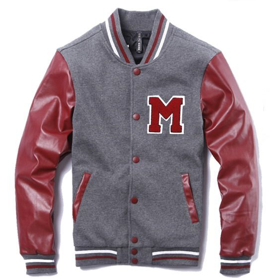 Red Grey Mens Letter M Leather Sleeves Cotton Jacket  Mens Letter M Jacket   -  109.00   Varsity Jackets Sale, Mens Baseball Jackets Outlet f4872f7bb2