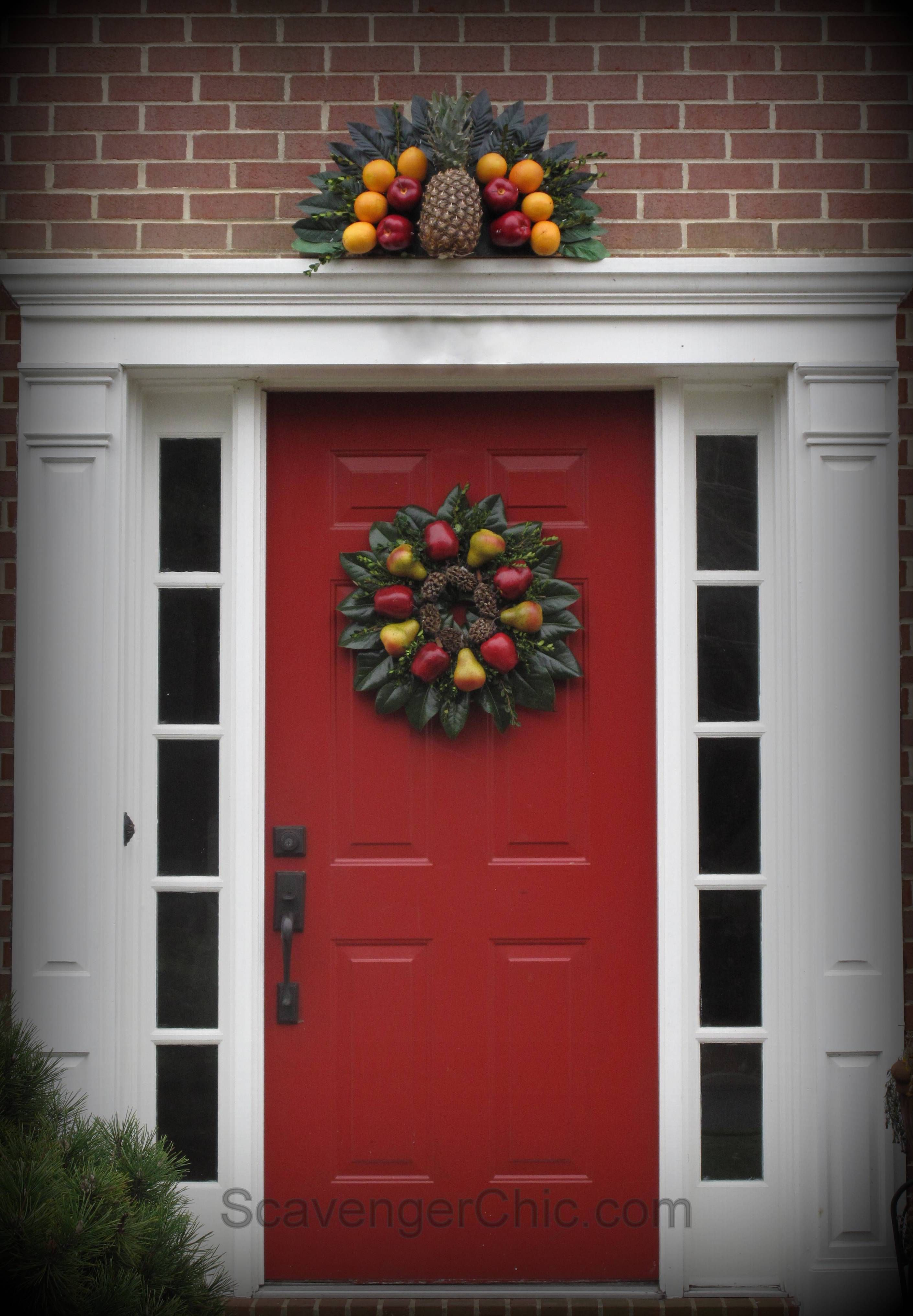 The other day I showed you how to make a Williamsburg inspired fruit wreath. Well today I\u0027m back with his companion piece an over the door fruit fan. & Williamsburg Fruit Fan Over the door decoration Williamsburg ...