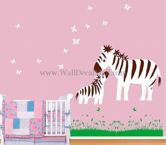 Mother Zebra And Baby Play With Butterfly Wall Decals – WallDecalMall.com