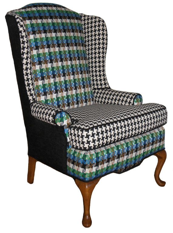 Refurbished Houndstooth Wingback Armchair By Jessicaallyndesigns 900 00 Wingback Chair Wingback Armchair Plaid Chair