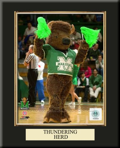 One 8 x 10 inch Marshall University photo of Marshall University Mascot inserted in a gold slide-in frame and mounted on a 10 x 13.5 inch solid black finish plaque with a customizable nameplate*.  $39.99 @ ArtandMore.com